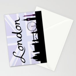 London Script on Union Jack Sky & Sites Purple Stationery Cards
