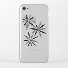 Elegant Thin Flowers With Dots And Swirls Clear iPhone Case