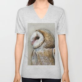 Barn Owl Watercolor, Birds Of Prey Wild Animals Owls Unisex V-Neck