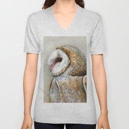 Barn Owl Watercolor, Birds Of Prey Wild Animals Owls Unisex V-Neck