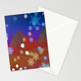 Mountains and Snowflakes Stationery Cards