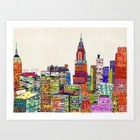 new york skyline Art Prints featuring new york city skyline by bri.buckley