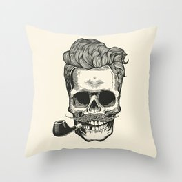 Skull silhouette with mustache, and tobacco pipes. Throw Pillow