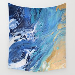 Sea Shore: Acrylic Pour Painting Wall Tapestry