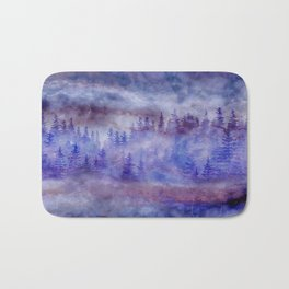 Misty Pine Forest Bath Mat