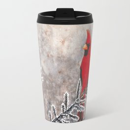 The Red Cardinal in winter Travel Mug