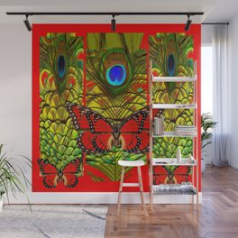 RED MONARCH BUTTERFLIES LIME COLOR PEACOCK ART Wall Mural