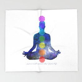 Chakras - Positive mind, Positive vibes, Positive Life Throw Blanket