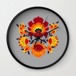 Folk flowers in orange shades Wall Clock