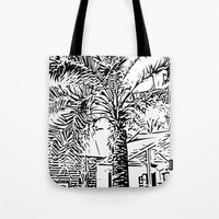 palm tree Tote Bags featuring Palm tree by ArteGo