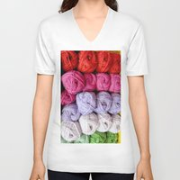 knitting V-neck T-shirts featuring Knitting Yarn by Rosie Brown