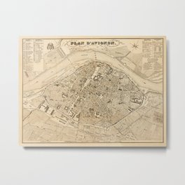Map Of Avignon 1840 Metal Print