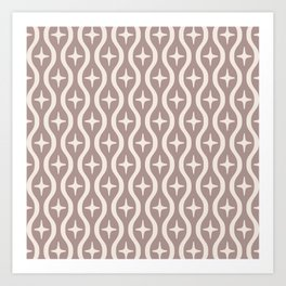 Mid century Modern Bulbous Star Pattern Beige Art Print