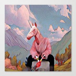 Unicorn with the fur coat Canvas Print
