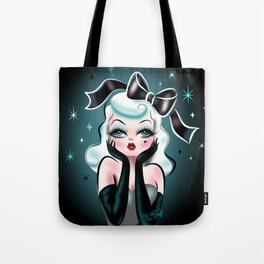 Glamour Doll with Black Bow Tote Bag