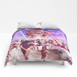 cat invader from space galaxy marsians attacking beach Comforters