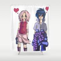 sasuke Shower Curtains featuring Ninja Love by Christine Tribou