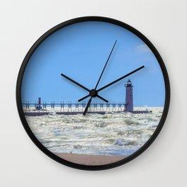 Manistee North Pierhead from Beach Lake Michigan Pier Lighthouse Breakwater Wall Clock
