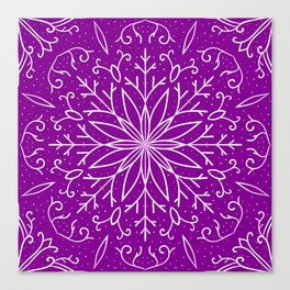 Single Snowflake - Purple Canvas Print