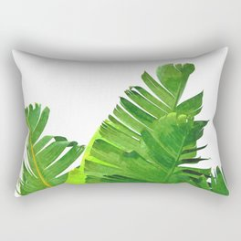 Palm banana leaves tropical watercolor illustration Rectangular Pillow