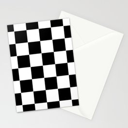 Checker Cross Squares Black & White Stationery Cards