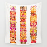 tiki Wall Tapestries featuring Tiki Totems – Fiery Palette by Cat Coquillette