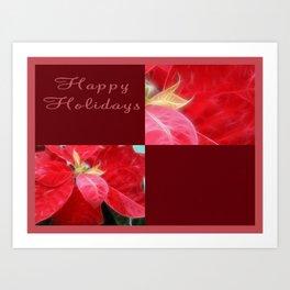 Mottled Red Poinsettia 2 Happy Holidays Q10F1 Art Print