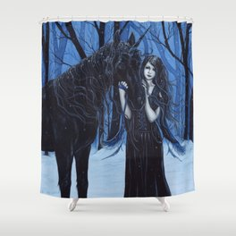 Midnight Travelers Gothic Fairy and Unicorn Shower Curtain