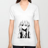 vocaloid V-neck T-shirts featuring Miku in a stream of colors by DPain