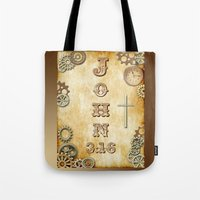 bible verse Tote Bags featuring Steampunk Bible Verse John 3:16 by Whimsy and Nonsense