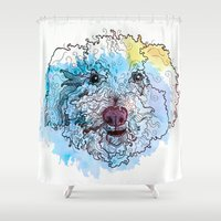 sam smith Shower Curtains featuring Curly Sam by Katy Lynn Brannign