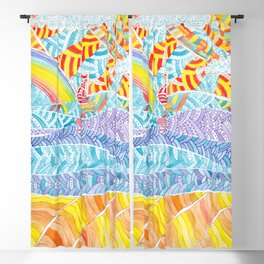 Sea beach with a rainbow and shells - abstract doodle colorful landscape Blackout Curtain