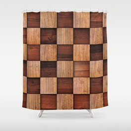 Wooden squares Shower Curtain