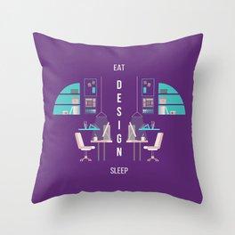 Eat Design Sleep  - Purple Throw Pillow