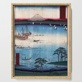 Hiroshige - 36 Views of Mount Fuji (1858) - 34: Kuroto Bay in Kazusa Province Serving Tray