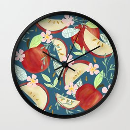 Apples & Flowers Wall Clock