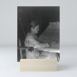 Doris Ulmann 1882-1934, Portrait of Woman quilting Mini Art Print