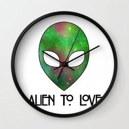 Alien to Love - GREEN Wall Clock