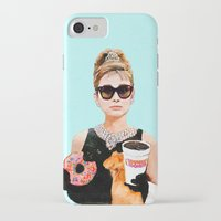iPhone Cases featuring Breakfast at Dunkin Donuts - Audrey Hepburn by the girl found love