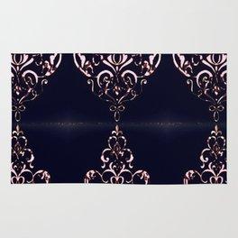 Classic Rose Blush Swirls on Navy Distressed Background Rug
