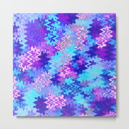 Blue and Purple Marble Waves Metal Print