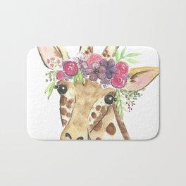 Flower Crown Giraffe Watercolor Bath Mat