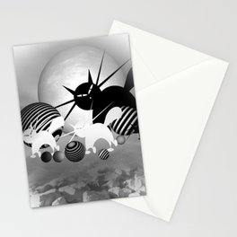 dreaming of mooncats bw -4- Stationery Cards