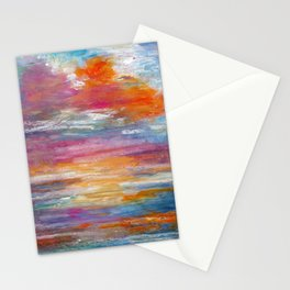 Abstract colorful texture background with paint strokes Stationery Cards
