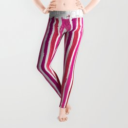 Lipstick Stripes - Floral Fuschia Red Leggings