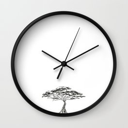 Whistling Thorn , Zen Bonsai African Tree Wall Clock
