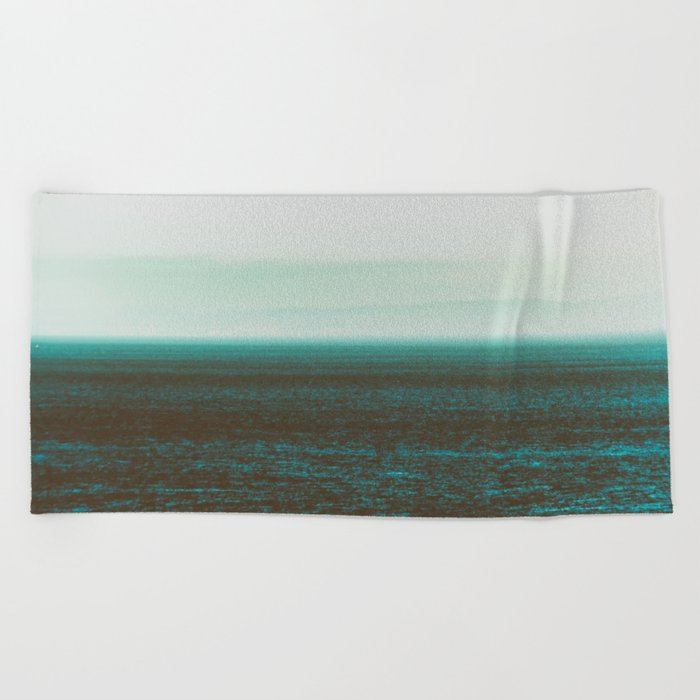 Sea front green Beach Towel
