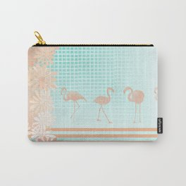 Peach & Teal Pretty Flamingo Carry-All Pouch