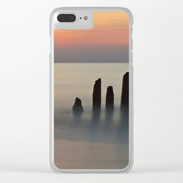 Groyne and sunset on the Baltic Sea coast Clear iPhone Case