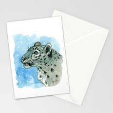 Snow Leopard & snowflakes 860 Stationery Cards